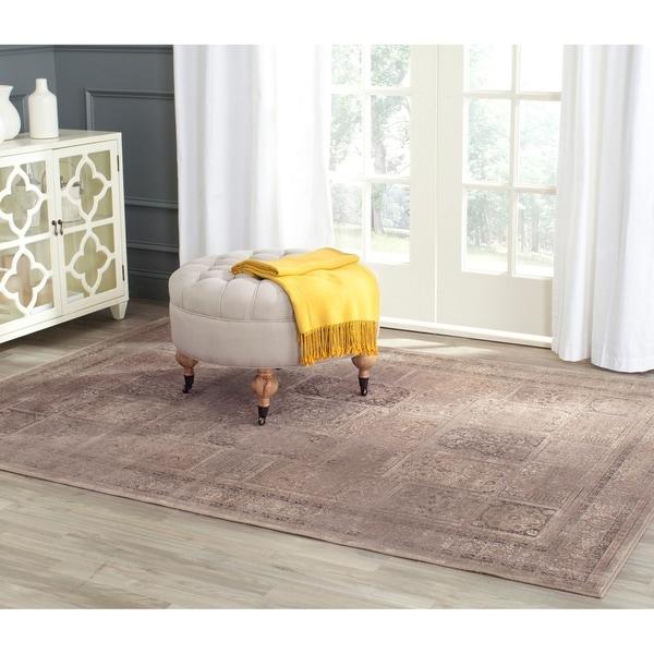 "Safavieh Vintage Mouse Brown Distressed Panels Silky Viscose Rug - 8' x 11'2"""