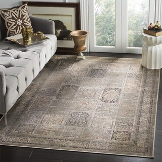 Safavieh Vintage Mouse Brown Distressed Panels Silky Viscose Rug (5'3 x 7'6)