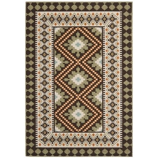 "Safavieh Contemporary Indoor/Outdoor Piled Veranda Chocolate/Terracotta Rug (6'7"" x 9'6"")"