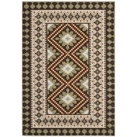 Contemporary Safavieh Indoor/Outdoor Piled Veranda Chocolate/Terracotta Rug - 5'3' x 7'7'