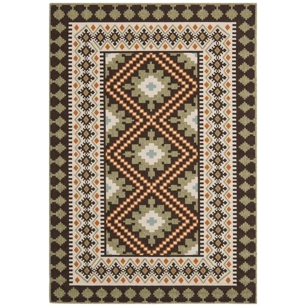 Wonderful Safavieh Indoor/Outdoor Piled Veranda Chocolate/ Terracotta Rug (4u0027 X ...