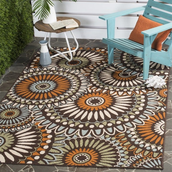 Safavieh Indoor/Outdoor Piled Veranda Chocolate/ Terracotta Rug - 8' x 11'2