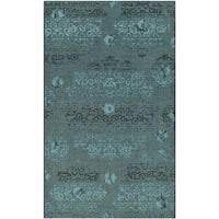 Safavieh Palazzo Black/ Turquoise Overdyed Chenille Area Rug (5' x 8') - 5' x 8'