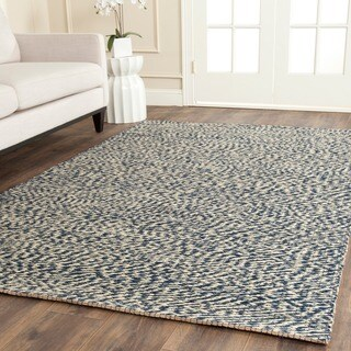 Safavieh Casual Natural Fiber Blue / Ivory Sisal Sea Grass Rug (4' Square)