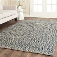 Safavieh Casual Natural Fiber Hand-Woven Doubleweave Blue/ Ivory Jute Rug - 4' Square