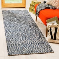 "Safavieh Casual Natural Fiber Hand-Woven Doubleweave Blue/ Ivory Jute Rug - 2'6"" x 10'"