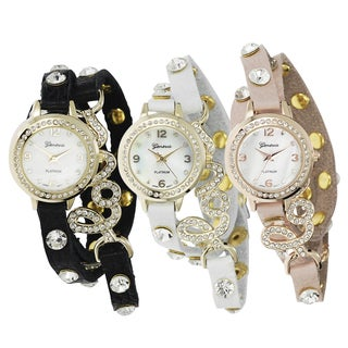 Geneva Platinum Women's Studded Wrap Watch with Case