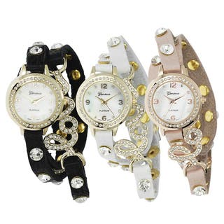 Geneva Platinum Women's Studded Wrap Watch with Case (Option: Black)|https://ak1.ostkcdn.com/images/products/8087168/Geneva-Platinum-Womens-Studded-Wrap-Watch-with-Case-P15439901.jpg?impolicy=medium