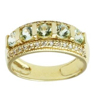 Michael Valitutti 18k Yellow Gold Mint Tourmaline and Diamond Ring