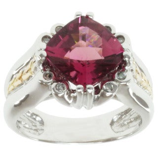 Michael Valitutti 14k Two-tone Gold Pink Tourmaline and Diamond Ring