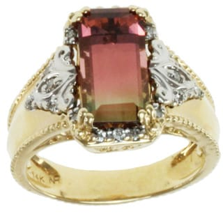 Michael Valitutti 14k Two-tone Gold Bi-color Tourmaline and Diamond Ring