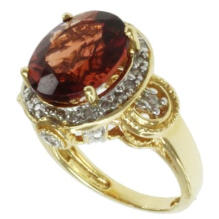 Michael Valitutti 18k Yellow Gold Ruby Sunstone and Diamond Ring