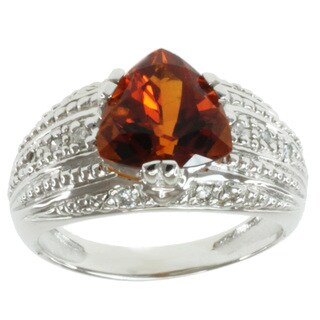 Michael Valitutti 14k White Gold Fire Citrine and Diamond Ring