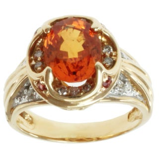 Michael Valitutti 14k Yellow Gold Orange Sapphire and Diamond Ring