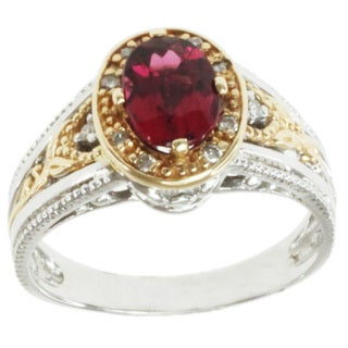 Michael Valitutti 14K Two-tone Gold and Oval-cut Rubelite and Diamond Ring