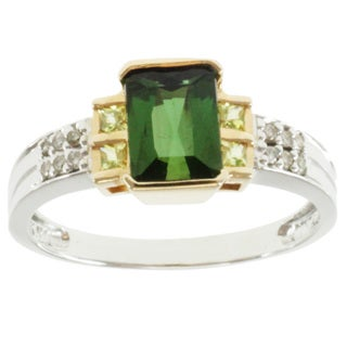 Michael Valitutti 14k Two-tone Gold Green and Canary Tourmaline and Diamond Ring