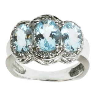 Michael Valitutti 14k White Gold Aquamarine and Diamond Ring