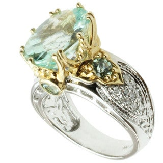 Michael Valitutti 14k Two-tone Gold Amblygonite, Sea Green Tourmaline and Diamond Ring