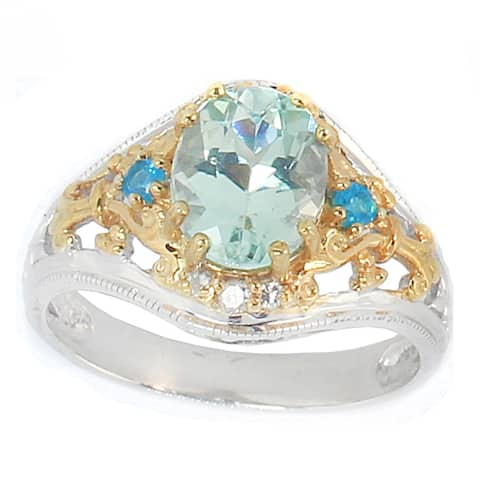 Michael Valitutti Palladium Silver Amblygonite, Apatite and Diamond Ring