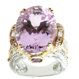 Michael Valitutti 14k Two-tone Gold Kunzite, Rhodolite and Diamond Ring