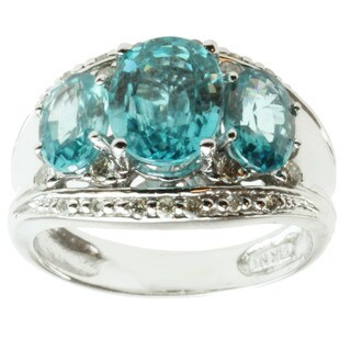 Michael Valitutti 14K White Gold Oval-cut Blue Zircon and Diamond Ring