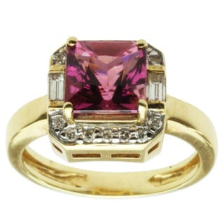 Michael Valitutti 18k Yellow Gold Pink Princess Tourmaline and Diamond Ring