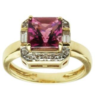 Michael Valitutti 18k Yellow Gold Pink Princess Tourmaline and Diamond Ring