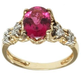 Michael Valitutti 14K Yellow Gold Oval-cut Pink Tourmaline and Diamond Ring