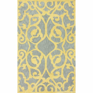 nuLOOM Handmade Scroll Grey Cotton Chenille Rug (5' x 8')