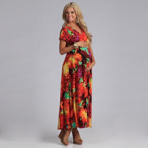 24/7 Comfort Apparel Women's Maternity Maxi Dress