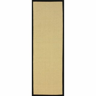 "Handmade Alexa Eco Natural Fiber Cotton Border Jute Runner Rug (2'6"" x 10')"