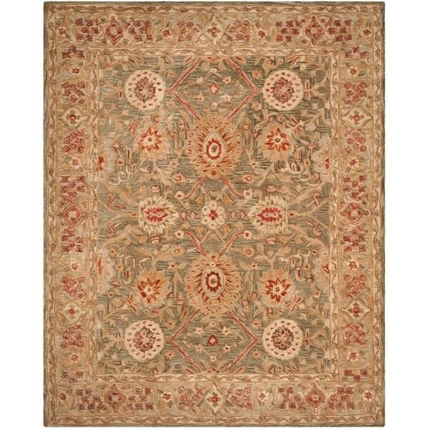 Safavieh Handmade Anatolia Oriental Sage Green/ Ivory Hand-spun Wool Rug - 11' x 15'