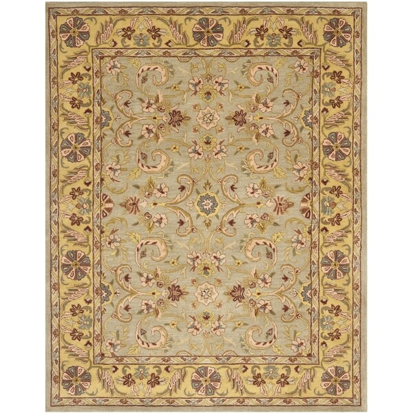 Safavieh Handmade Heritage Traditional Kerman Grey/ Gold Wool Rug - 9'6 x 13'6
