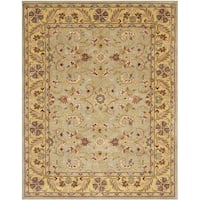 "Safavieh Handmade Heritage Traditional Kerman Grey/ Gold Wool Rug - 9'6"" x 13'6"""