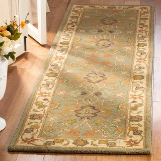 Safavieh Handmade Heritage Traditional Oushak Light Green/ Beige Wool Rug (2'3 x 18')