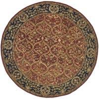 Safavieh Handmade Anatolia Oriental Red/ Navy Hand-spun Wool Rug (6' Round)