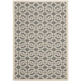 Safavieh Courtyard Geometric Grey/ Beige Indoor/ Outdoor Rug (5'3 x 7'7)