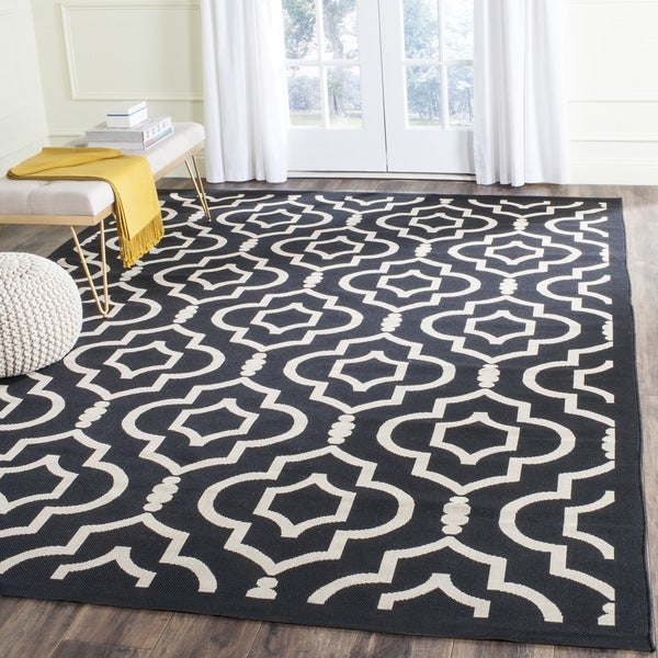 Black And White Geometric Rugs For Sale: Safavieh Indoor/Outdoor Courtyard Black/Beige Geometric