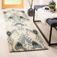 Safavieh Handmade Ikat Beige/ Slate Wool Rug - 2'3 x 12'