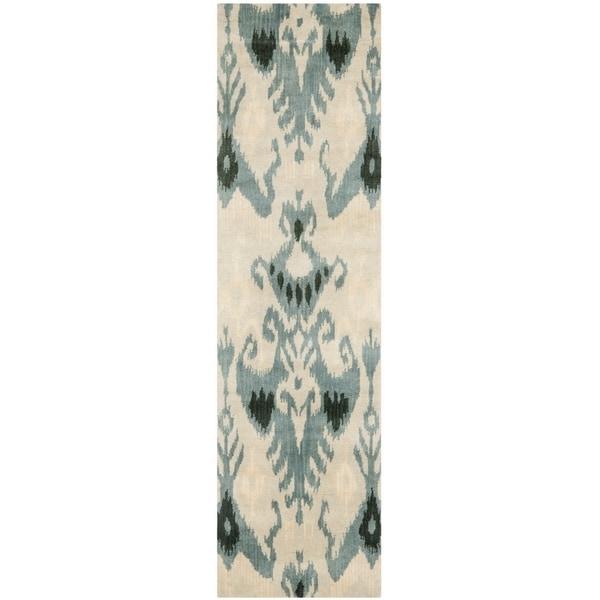 Safavieh Handmade Ikat Beige Slate Wool Rug 2 3 X 12