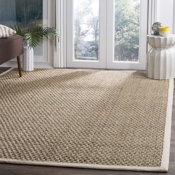 Safavieh Casual Natural Fiber Natural and Ivory Border Seagrass Rug - 6' x 9'