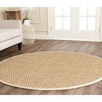 Safavieh Casual Natural Fiber Natural and Ivory Border Seagrass Rug - 6' Round