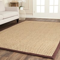 Safavieh Casual Natural Fiber Natural and Dark Brown Border Seagrass Rug - 5' x 8'