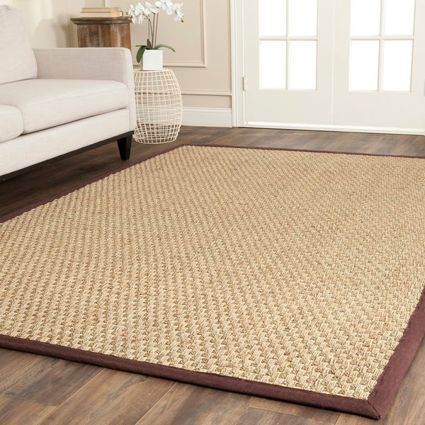 Safavieh Casual Natural Fiber Natural and Dark Brown Border Seagrass Rug - 6' x 9'