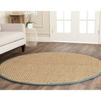 Safavieh Casual Natural Fiber Natural and Light Blue Border Seagrass Rug - 6' Round