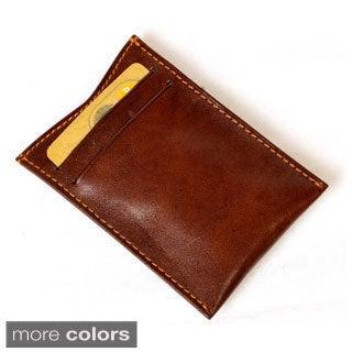 Tony Perotti Men's Italian Bull Leather Spring Tension Money Clip with Credit Card Slot
