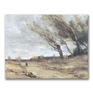 Jean Baptiste Corot 'The Gust of Wind' Canvas Art