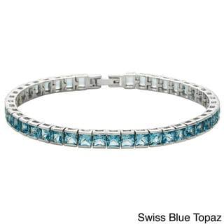 Link to Oravo Sterling Silver Princess-cut Gemstone Tennis Bracelet Similar Items in Bracelets