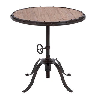 Casa Cortes Handcrafted Industrial Round Accent Table