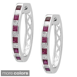 Montebello 14k Gold Ruby or Sapphire and 4/5ct TDW Diamond Hoop Earrings (H-I, SI2)